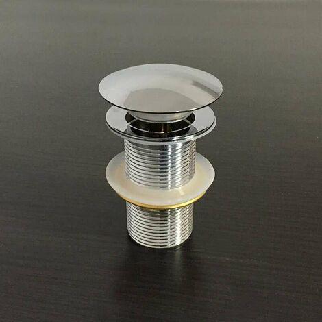 Válvula de desagüe click-clack en latón cromado sin rebosadero