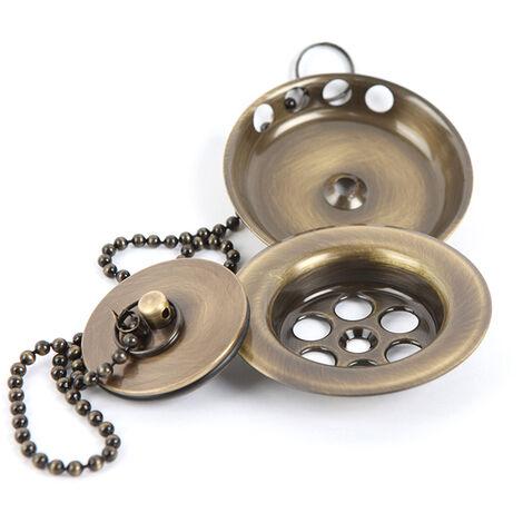 Válvula de desagüe de bañera universal compatible con la mayoría de bañeras estandar fabricada en latón con acabado en color bronce / oro viejo Kibath