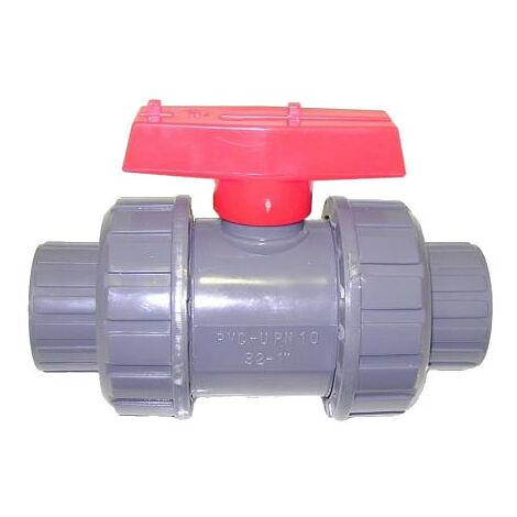 VALVULA ESFERA PVC CON CONECTOR 1.1/4''