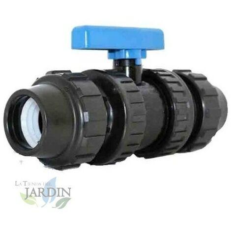 Valvula fitting PE 40mm, llave de paso para tuberia agricola y alimentaria