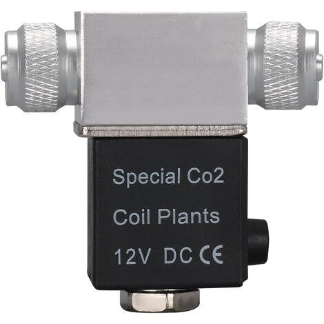 Valvula solenoide Regulador del sistema de CO2 del acuario, salida DC 12V, doble cabezal