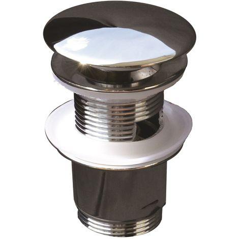 Válvula universal clic clac con rebosadero de latón cromado para lavabo o bidé | cromado brillante
