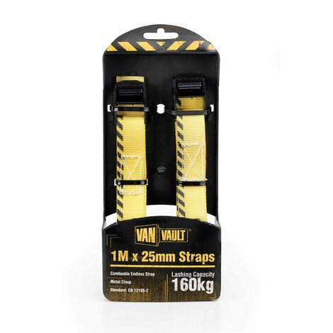 Van Vault CAMBUCKLE ENDLESS STRAPS Lashing / Tie Down for Securing Loads - 1M x 25mm (Pair)