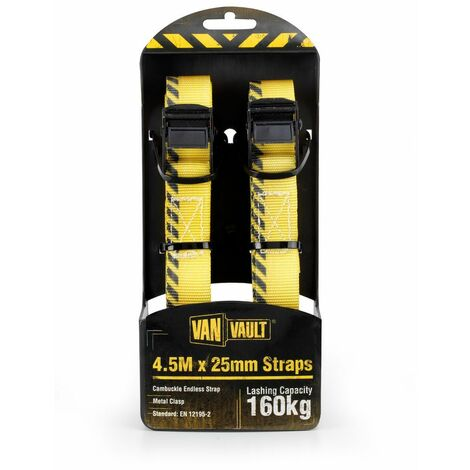 Van Vault CAMBUCKLE ENDLESS STRAPS Lashing / Tie Down for Securing Loads - 4.5M x 25mm (Pair)