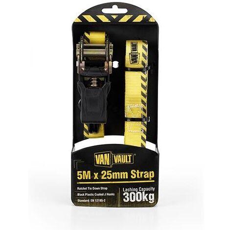 Van Vault RATCHET STRAPS Lashing / Tie Down for Securing Loads - 3.2M x 25mm (Pair)