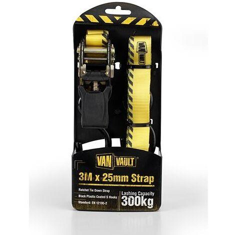 Van Vault RATCHET STRAPS Lashing / Tie Down for Securing Loads - 3M x 25mm (Pair)