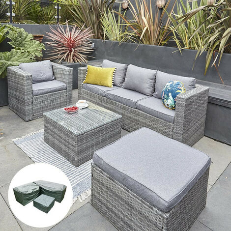Vancouver 5 Seater New Rattan Garden Furniture Set Grey Sofa Table Chairs With Rain Cover- Patio Conservatory