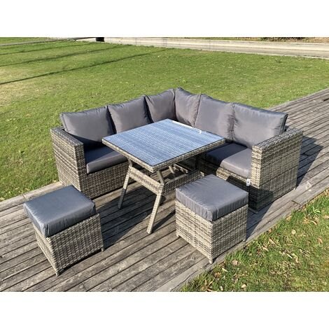 VANCOUVER 7 SEATER RATTAN GARDEN DINING SET IN GREY