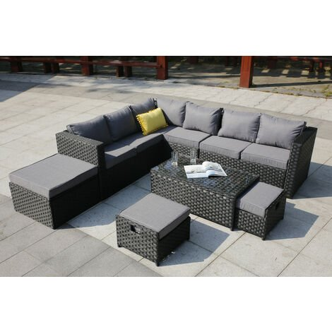 VANCOUVER 9 SEATER CORNER RATTAN GARDEN SET IN BLACK WITH FITTING COVER