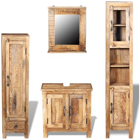 Vanity Cabinet with Mirror and 2 Side Cabinets Solid Mango Wood - Brown