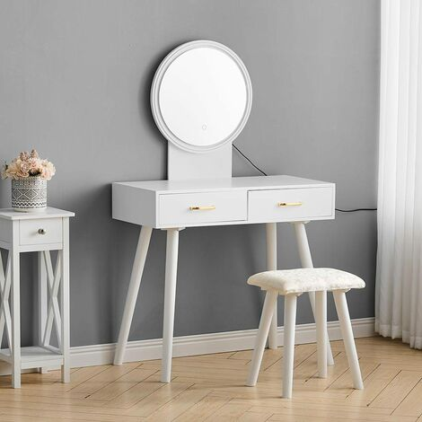 Vanity Dressing Table Set with LED Round Mirror 2 Drawers Padded Stool Makeup Desk
