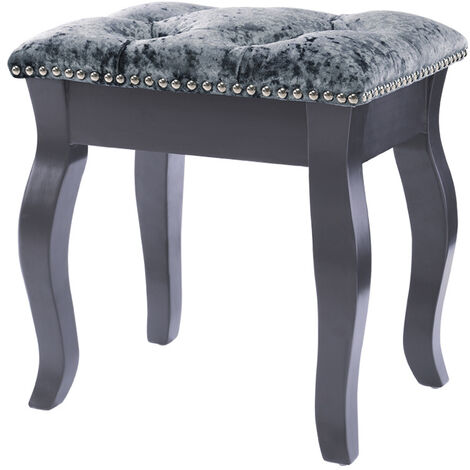 Vanity Dressing Table Stool Soft Grey Piano Seat Makeup Chair Silver Grey