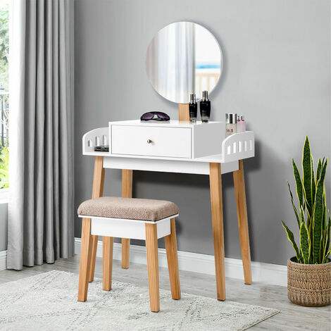 """main image of """"Vanity Makeup Dressing Table Wooden Cosmetic Table Stool Set W/Adjustable Mirror"""""""