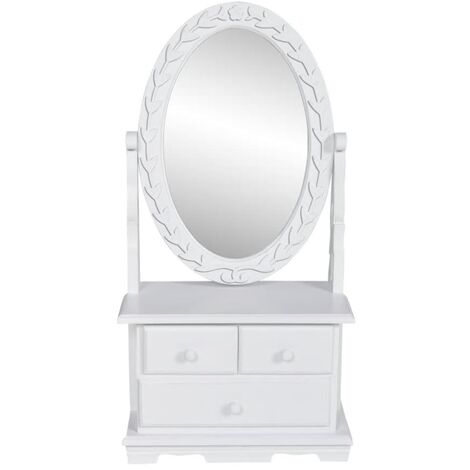 """main image of """"Vanity Makeup Table with Oval Swing Mirror MDF - White"""""""
