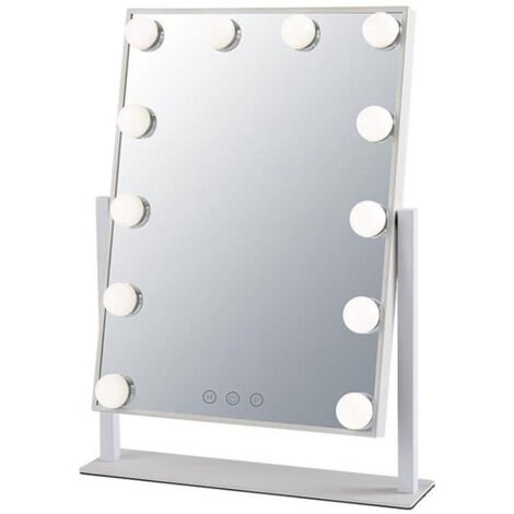 """main image of """"Vanity Mirror with Lights, Large Hollywood Makeup Mirror with 3 Color Light Modes and 12 Dimmable LED Bulbs, Touch Control and 360 ° Rotation, White"""""""