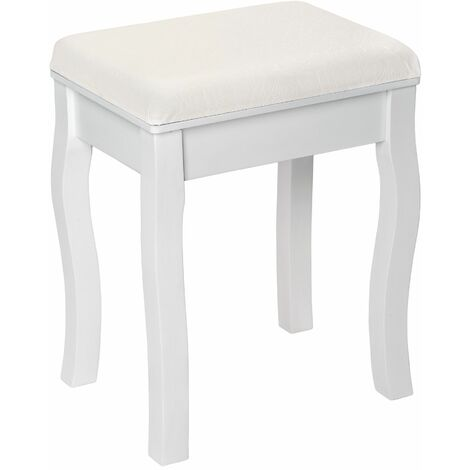 Vanity stool rose pattern - bedroom stool, dressing stool, upholstered stool - white