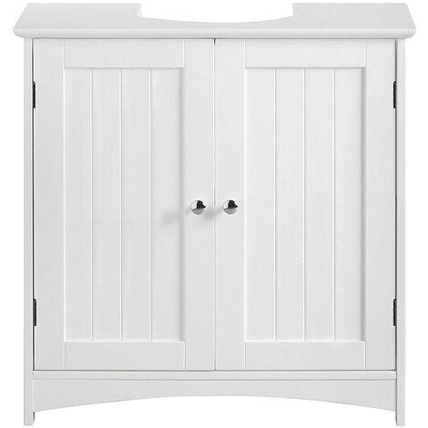 Vanity Unit Bathroom Cabinet Bathroom Cabinet 2 Hinged Doors 2 Lockers 1 Removable Moisture-Proof Separator 60 x 30 x 60cm White