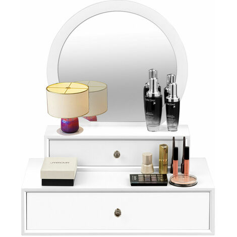 """main image of """"Vanity Wall Mounted Dressing Table Round Makeup Mirror Bathroom Bedroom Chest"""""""