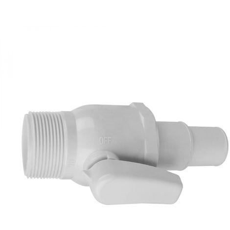 """Vanne 1/4 de tour 1""""1/2 - Diam 32/38 mm pour tuyau flottant de piscine - Blanc - Linxor"""