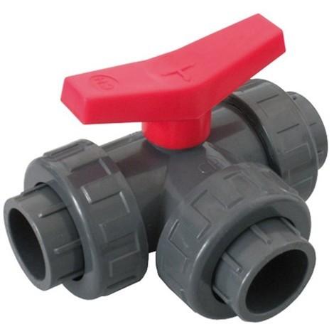 Vanne 3 voies L PVC pression à coller FF Ø50 - Catégorie Vanne et robinet PVC