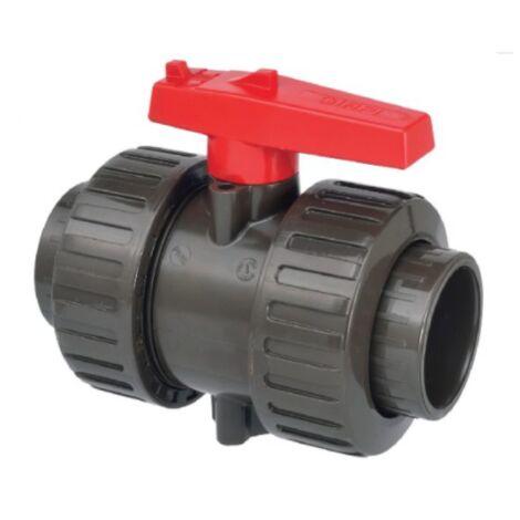 Vanne à bille double union PVC HTA D.63
