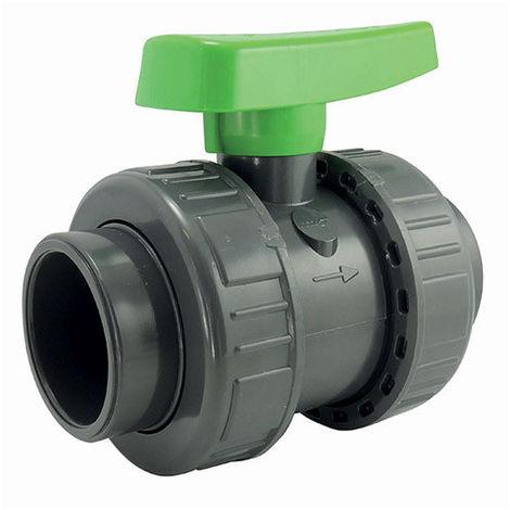 Vanne à sphère double union - serie irrigation - raccordement femelle à coller - 20mm