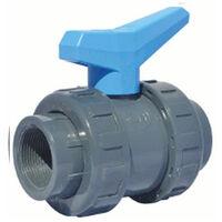 "Vanne à sphère PVC-U PN16 raccord Ø2"" (50x60) - passage Ø50 - à visser - Manette bleue"