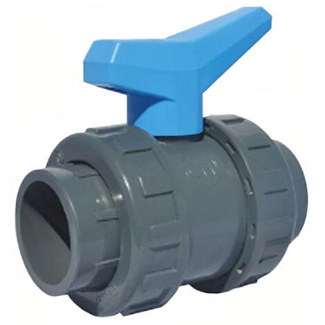 Vanne à sphère PVC-U PN16 - raccord Ø50 - passage Ø40 - à coller - Manette bleue