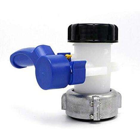 Vanne Papillon ND40/ND50 IBC Eau Réservoir avec écrou Flottant en Alliage Aluminium Remplacement S60x6 pour Réservoir Cuve 1000 litres IBC (Aluminium 62mm)
