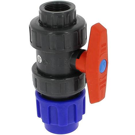 Vanne plastique 1/4 tour femelle 26-34 compression O32