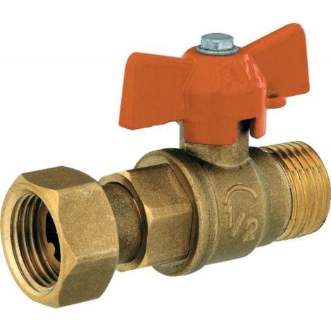 Vanne pour collecteur avec passage intégral Ø 12 mm écrou 15x21 mâle 15x21