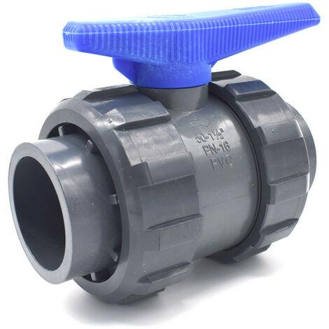 Vanne PVC à sphère double union raccordement femelle à coller abrisa - 40mm
