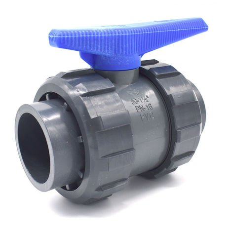 Vanne PVC à sphère double union raccordement femelle à coller abrisa - 50mm