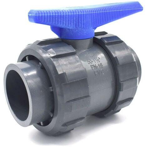 Vanne PVC à sphère double union raccordement femelle à coller abrisa - 63mm