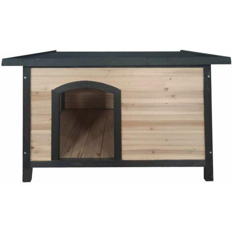 Vanty - Niche en bois toit plat pour chien