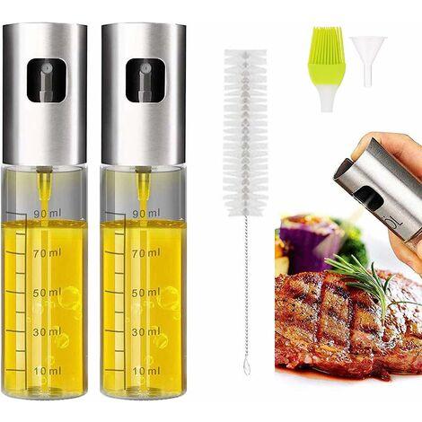 Vaporisateur Huile, Pluvérisateur d'Huile 100ml Spray Huile d'olive avec Brosse Accessoire Plancha Parfait pour Cuisson Salade Barbecue Cooking