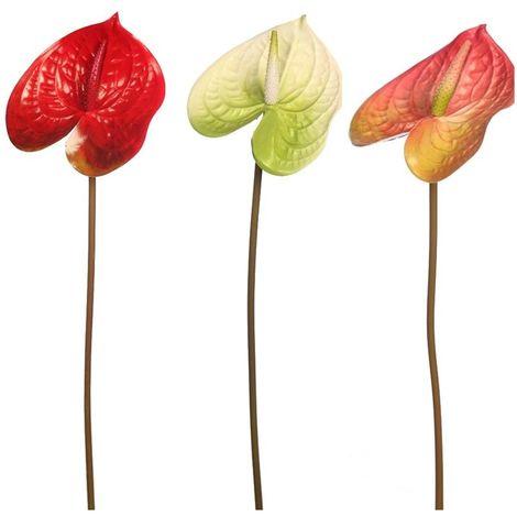 Vara flor Anturio artificial. Realista de Tela Latex. Altura 60 cm. Ø flor 13 cm
