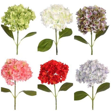 Vara Flor Hortensia Artificial. Realista de Tela. Altura 65 Cm. Diámetro 18 Cm