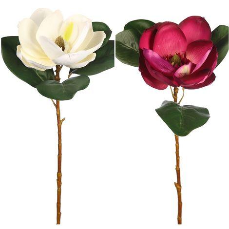 Vara Flor Magnolia Artificial. Realista de Latex. Altura 80 Cm. Color Fucsia