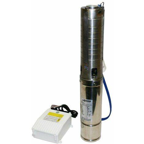 Varan Motors - 4SM3-6F Pompe à eau immergée pour puits profond ou forage, 4m³/h - 34m, 370Watt, Rotor INOX - Gris