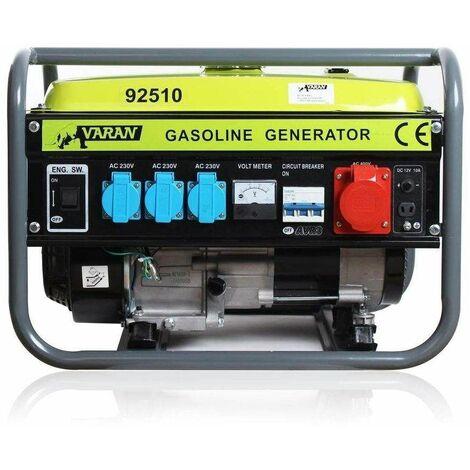 "main image of ""Varan Motors - 92510 Benzin Stromerzeuger 2,3 kVA 1x 400V 3x 230V 1x 12VDC Elektrischer Generator - Grau"""