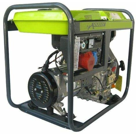 Varan Motors - 92611 Groupe électrogène Diesel 5.0kVA, 1 x 400V, 1 x 230V, 1 x 12VDC - Gris