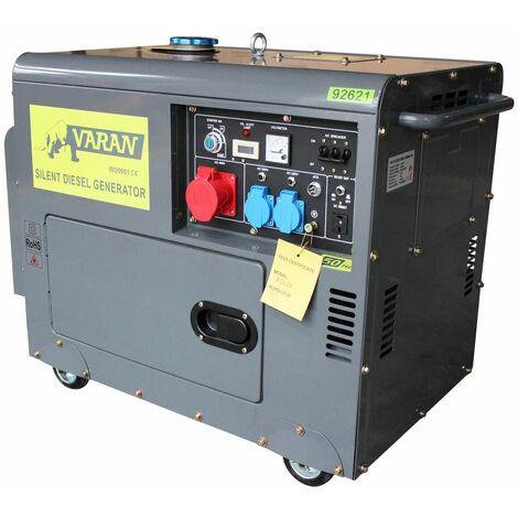 Varan Motors - 92621 Generador eléctrico diésel insonorizado grupo electrógeno 5.5kVA, 400V, 230V - Gris