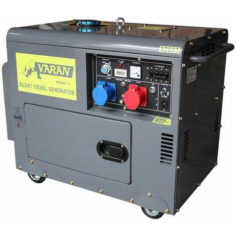 Varan Motors - 92623-ATS Generador eléctrico diésel insonorizado grupo electrógeno 5kVA 400V & 230V + ATS - Gris