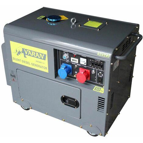 Varan Motors - 92623 Generador eléctrico diésel insonorizado, grupo electrógeno 5kVA 400V & 230V sin pérdida - Gris