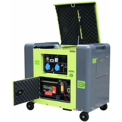 Varan Motors - 92624 Generador eléctrico diésel insonorizado tipo Panda grupo electrógeno 5.5kW 230V - Verde