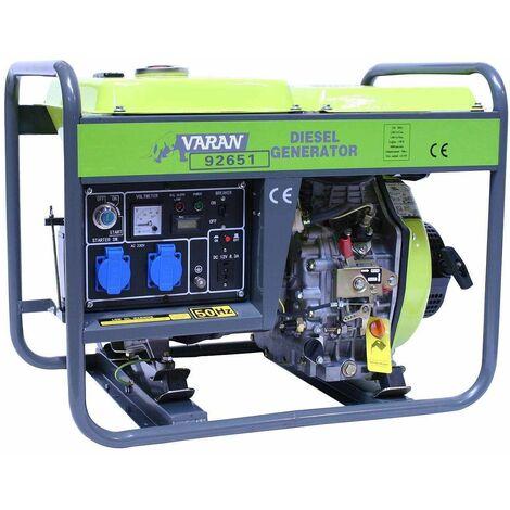 Varan Motors - 92651 Generador eléctrico diésel 3300W, 2 x 230V, 1 x 12V