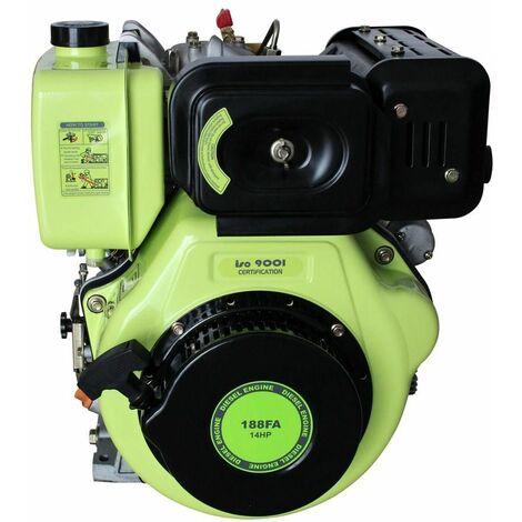 Varan Motors - 92682 Moteur Diesel 456cc 14CV + Démarrage Electrique, sortie à clavette 25.4mm F2 - Gris