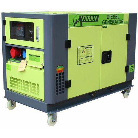Varan Motors - 92693 Generador / grupo electrógeno diésel insonorizado 10kVa 400V 230V 12V, refrigeración con AGUA - Verde