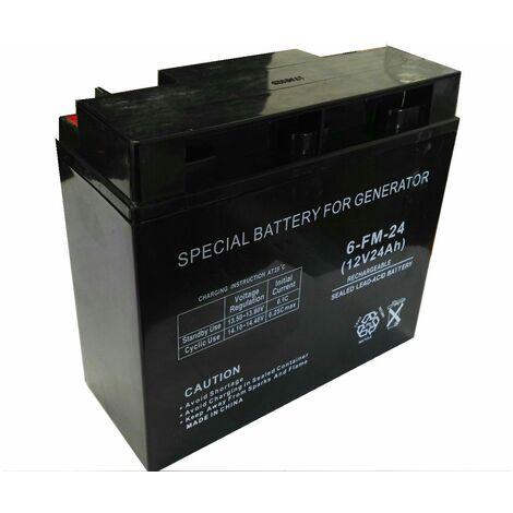 Varan Motors - BAT-12V-24AH Batterie accumulateur d'électricité 12V 24Ah, 6-FM-24 - Noir